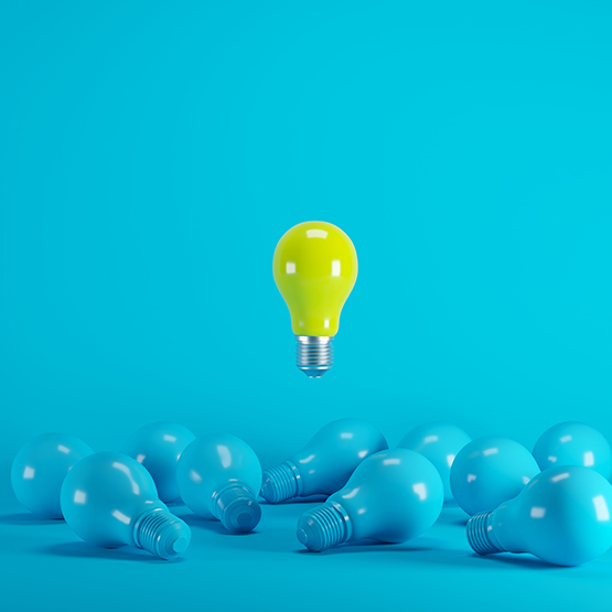 Yellow lightbulb floating born from blue light bulb on yellow background. minimal idea concept.; Shutterstock ID 1187633962; Purchase Order: Trabajos web BK